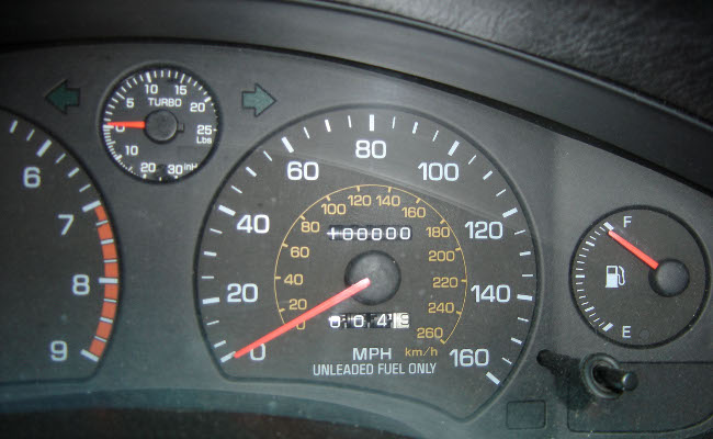 100,000 miles showing on an odometer