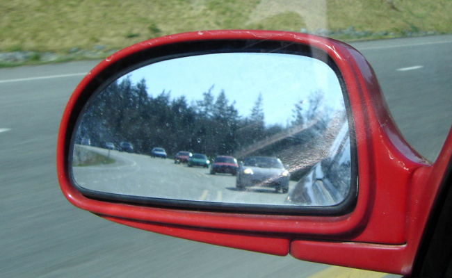 MR2s in a side mirror