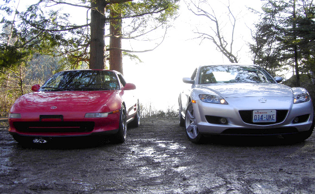 MR2 and RX-8 front view